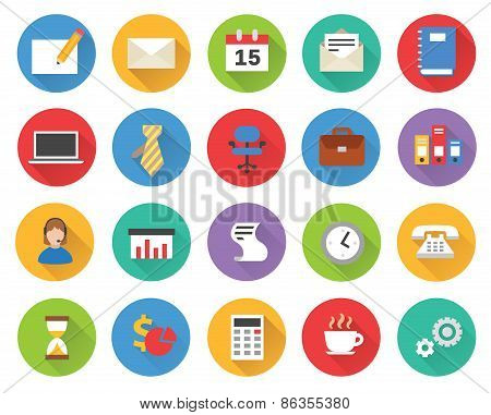 Flat business icons vector set