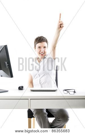 Young Businesswoman Woman Expressing Her Success