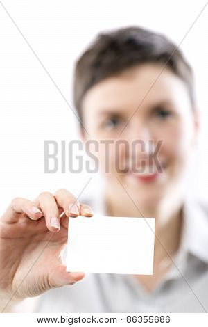 Young Woman Presenting A Business Card
