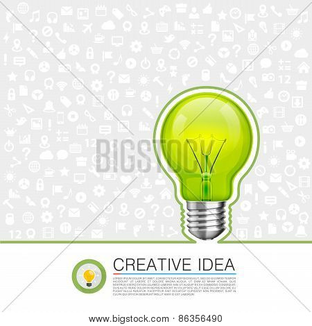 Bulb idea with icons on the background
