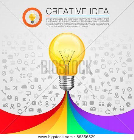 Creative idea lamp with rainbow
