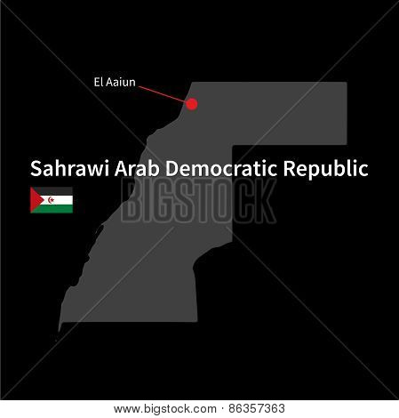 Detailed map of Sahrawi Arab Democratic Republic and capital city El Aaiun with flag on black backgr