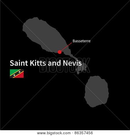 Detailed map of Saint Kitts and Nevis and capital city Basseterre with flag on black background