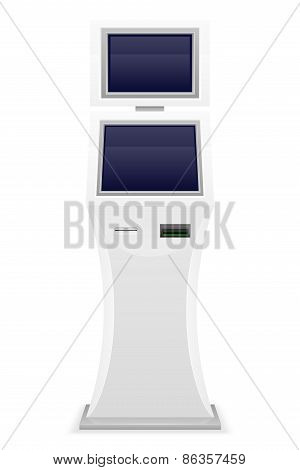 Terminal For Receiving Cash Payments Vector Illustration