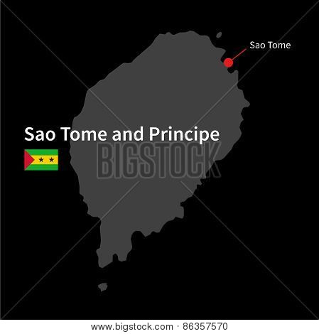 Detailed map of Sao Tome and Principe and capital city Sao Tome with flag on black background