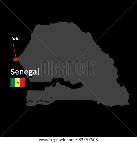 Detailed map of Senegal and capital city Dakar with flag on black background
