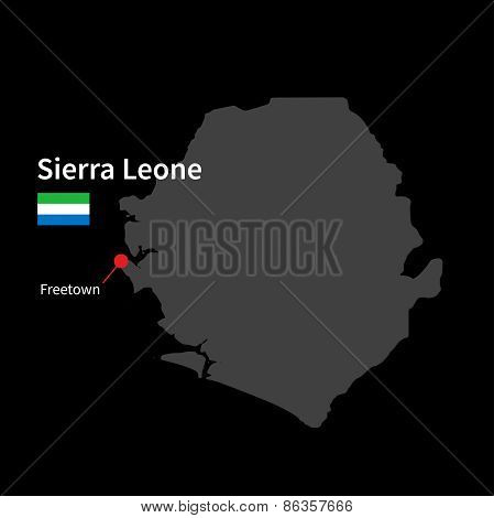 Detailed map of Sierra Leone and capital city Freetown with flag on black background