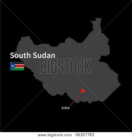 Detailed map of South Sudan and capital city Juba with flag on black background