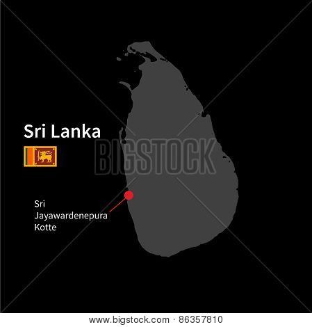 Detailed map of Sri Lanka and capital city Sri Jayawardenepura Kotte with flag on black background