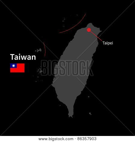 Detailed map of Taiwan and capital city Taipei with flag on black background