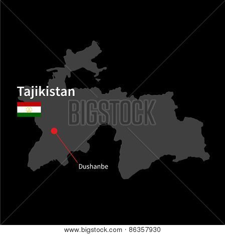 Detailed map of Tajikistan and capital city Dushanbe with flag on black background