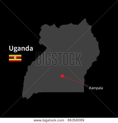 Detailed map of Uganda and capital city Kampala with flag on black background