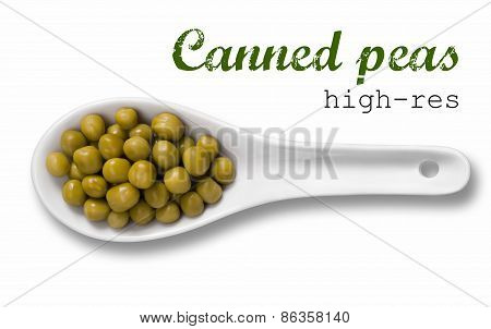 Canned Peas In White Porcelain Spoon