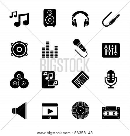 Silhouette Music, sound and audio icons