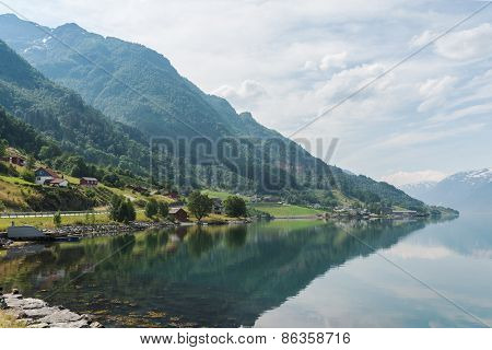 Small village at the shore of fjord, Norway