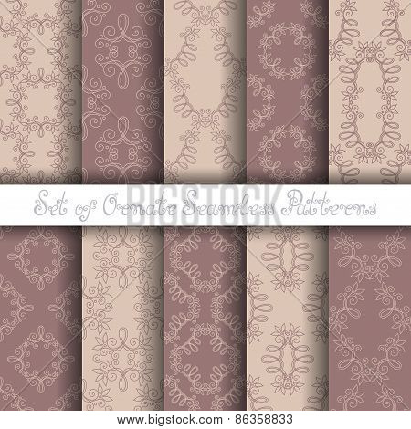 Vector Set of 10 Ornate Seamless Patterns in Vintage Linear Style