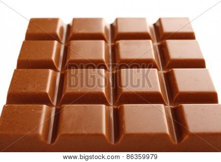 Milk chocolate bar close up