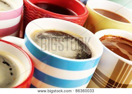 Many cups of coffee, closeup