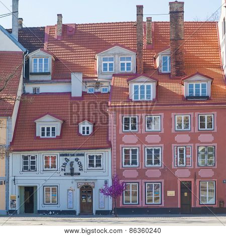 Colorful buildings in the old town of Riga