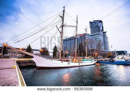 Gdansk, Poland - March 15, 2014: Dar Pomorza famous polish ship docked in Gdynia