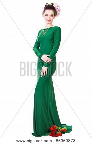Beautiful Young Woman In A Green Evening Dress