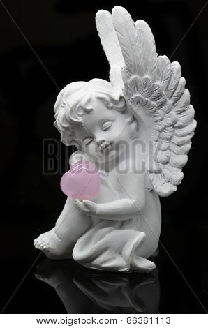 White Angel with Rose Quartz heart