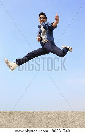 Happy Man Run And Jump