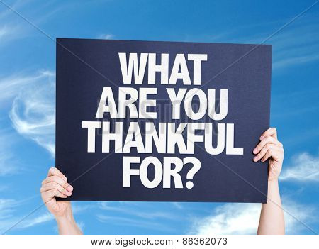 What Are You Thankful For? card with sky background