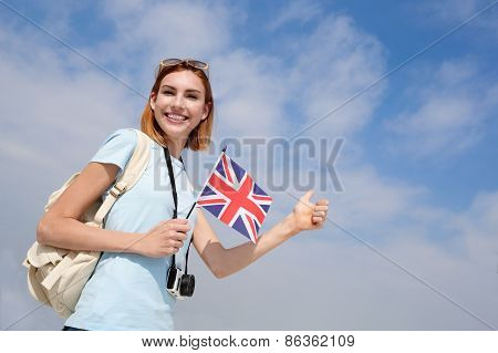 Happy Young Travel Woman