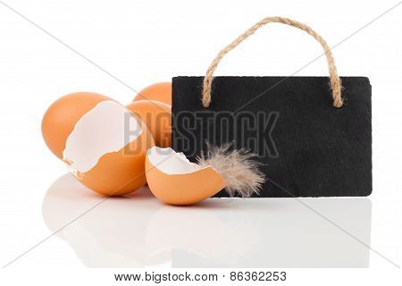 Broken Egg With Blackboard With Space For Text , On White Background