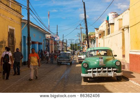 Trinidad - February 24: Streets Of Trinidad With Classic Old Car On February 24, 2015 In Trinidad. O