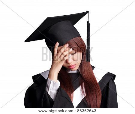 Unhappy Graduate Student Woman