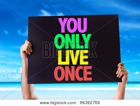 You Only Live Once card with beach background