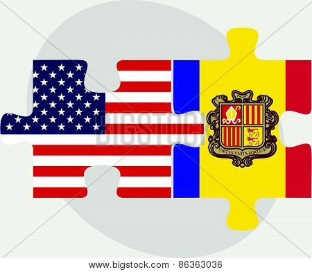 Usa And Andorra Flags In Puzzle