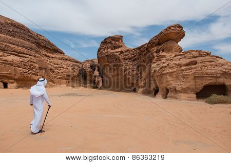 Saudian Walking In Madaîn Saleh Archeological Site, Saudi Arabia