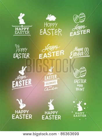 Digitally generated Various easter greetings vector