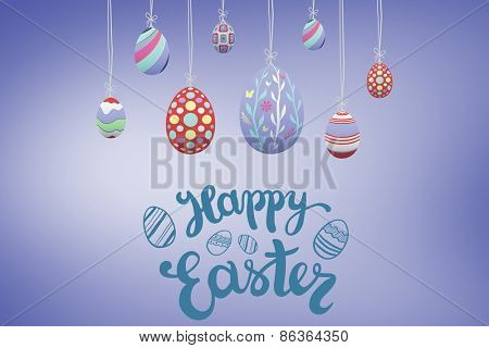 happy easter graphic against purple vignette