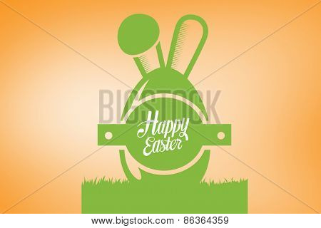 happy easter graphic against orange vignette
