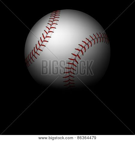 Closeup baseball ball in darkness