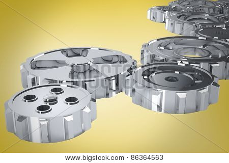 cogs and wheels against yellow vignette