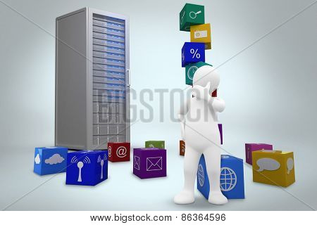 White character thinking against digitally generated server tower