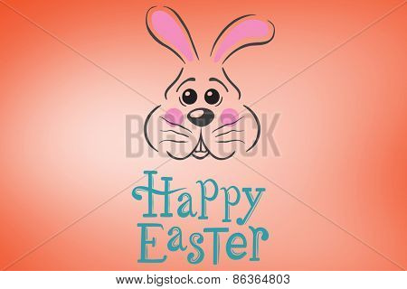 easter bunny with greeting against orange