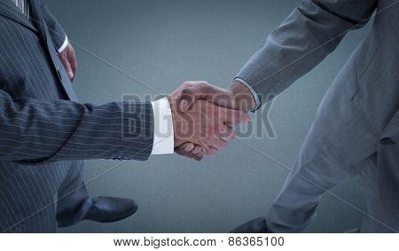 handshake against blue