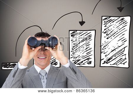 Businessman holding binoculars against digitally generated grey vignette background