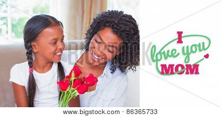 mothers day greeting against pretty mother sitting on the couch with her daughter holding roses