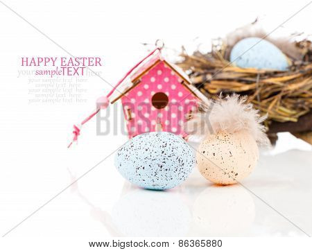 Easter Decoration On White Background With Color Egg And With Birdhouse, With Space For Text