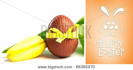easter bunny with greeting against orange vignette
