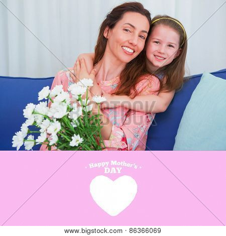 happy mothers day against daughter and mother with flowers