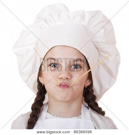 Portrait of a little girl in a white apron and spaghetti, isolated on white background