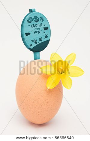 Easter egg hunt sign against egg with a small daffodil